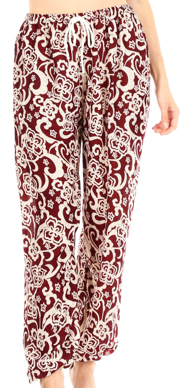 Sakkas Akilla Women's Loose Printed Yoga Elephant Pants Elastic Waist w/Pocket#color_Burgundy
