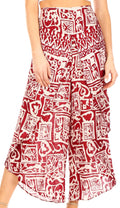 Sakkas Serilda Women's Loose Elephant Batik Boho Wide Leg Pants Elastic Waist#color_Burgundy