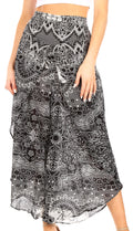 Sakkas Serilda Women's Loose Elephant Batik Boho Wide Leg Pants Elastic Waist#color_E-Black