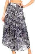 Sakkas Serilda Women's Loose Elephant Batik Boho Wide Leg Pants Elastic Waist#color_E-Navy
