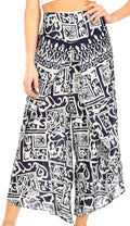 Sakkas Serilda Women's Loose Elephant Batik Boho Wide Leg Pants Elastic Waist#color_Navy