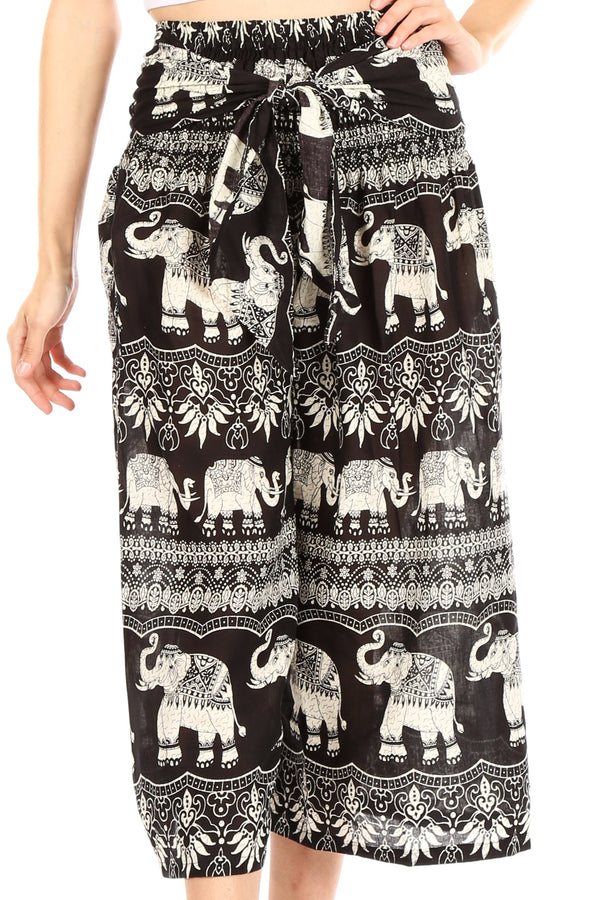 Sakkas Lilja Women's Loose Wide Leg Printed Elephant Pants Elastic Waist w/Pockets#color_E-Black
