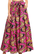 Sakkas Sora Women's Wide Leg Loose African Ankara Print Pants Casual Elastic Waist#color_404-Multi
