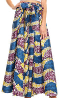 Sakkas Sora Women's Wide Leg Loose African Ankara Print Pants Casual Elastic Waist#color_405-Multi