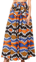 Sakkas Sora Women's Wide Leg Loose African Ankara Print Pants Casual Elastic Waist#color_406-Multi