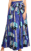 Sakkas Sora Women's Wide Leg Loose African Ankara Print Pants Casual Elastic Waist#color_408-royalblue/geometric