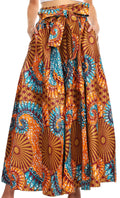 Sakkas Sora Women's Wide Leg Loose African Ankara Print Pants Casual Elastic Waist#color_410-turq/orange-tile