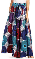 Sakkas Sora Women's Wide Leg Loose African Ankara Print Pants Casual Elastic Waist#color_413-Multi