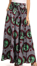 Sakkas Sora Women's Wide Leg Loose African Ankara Print Pants Casual Elastic Waist#color_414-Multi
