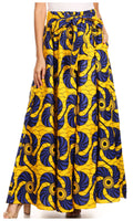 Sakkas Sora Women's Wide Leg Loose African Ankara Print Pants Casual Elastic Waist#color_417-blue/yellow-fan