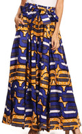 Sakkas Sora Women's Wide Leg Loose African Ankara Print Pants Casual Elastic Waist#color_418-Blue/yellow