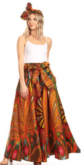 Sakkas Sora Women's Wide Leg Loose African Ankara Print Pants Casual Elastic Waist#color_501-Multi