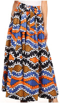 Sakkas Sora Women's Wide Leg Loose African Ankara Print Pants Casual Elastic Waist#color_541-salmon/royal