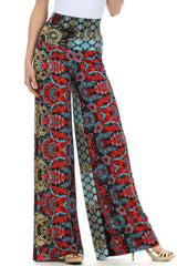 Sakkas Patterned High Waist Wide Leg Palazzo Pant