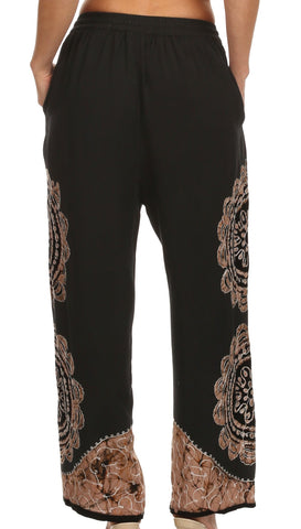 Sakkas Mase Floral Embroidered Adjustable Wide Leg Palazzo Pant