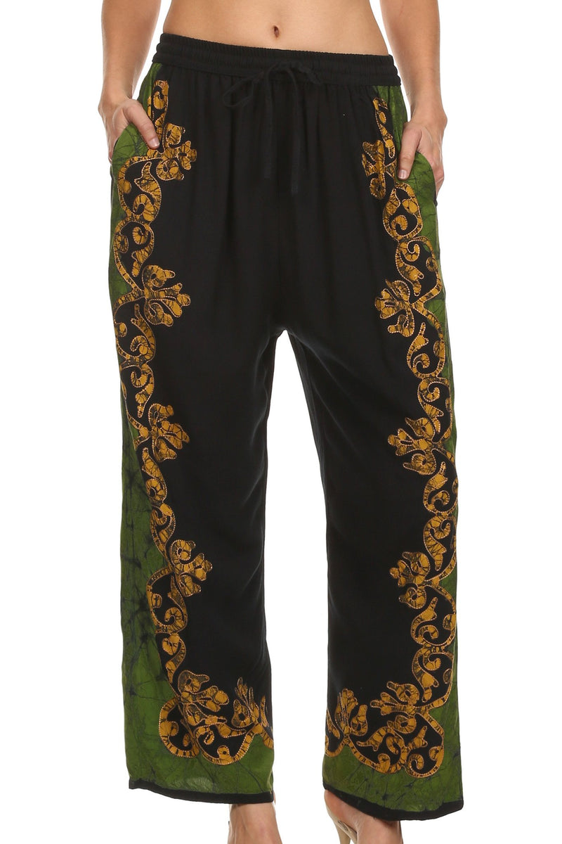 Sakkas Margiela Embroidered Stonewashed Wide Leg Palazzo Pant