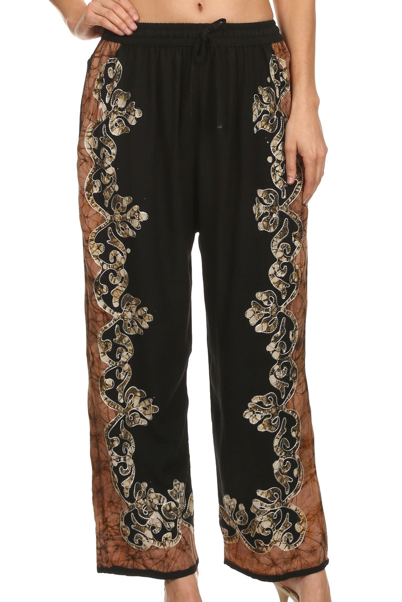 Sakkas Aliyah Embroidered Stonewashed Wide Leg Palazzo Pant