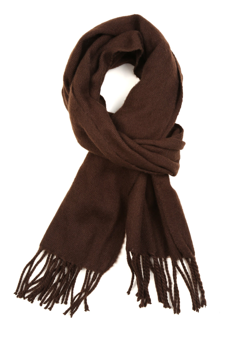 Sakkas Booker Cashmere Feel Solid Colored Unisex Winter Scarf With Fringe