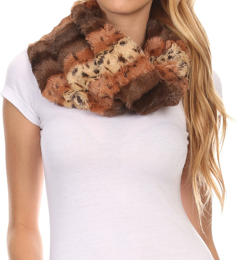 Sakkas Manula Long Wide Infinity Wrap Around Fuzzy Fur Fall Winter Classic Scarf