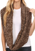 Sakkas Mellah Long Wide Soft Fuzzy Furry Fur Infinity Fall Winter Wrap Scarf#color_Brown