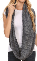 Sakkas Mellah Long Wide Soft Fuzzy Furry Fur Infinity Fall Winter Wrap Scarf#color_Dark Gray