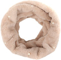 Sakkas Sabby Long Thin Faux Fur Pearl Embellishment Warm Soft Infinity Scarf#color_Beige