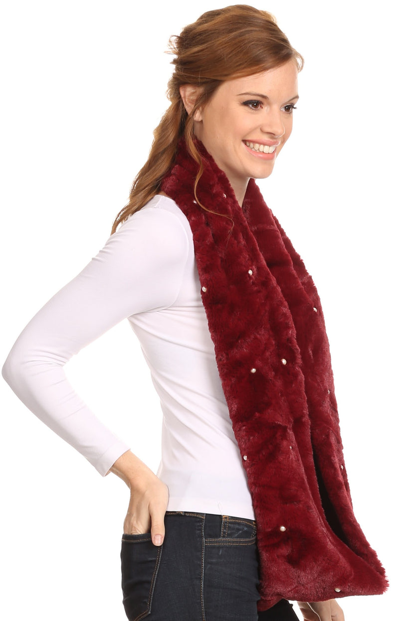 Sakkas Sabby Long Thin Faux Fur Pearl Embellishment Warm Soft Infinity Scarf