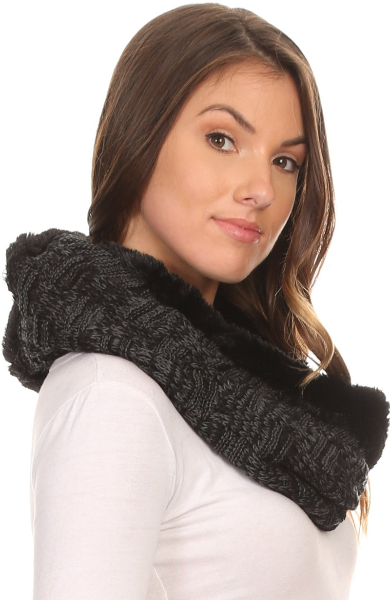 Sakkas Dalien Short Length Two Sided Faux Fur Ribbed Cable Knit Infinity Scarf