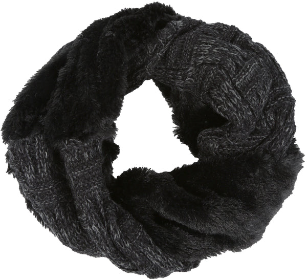Sakkas Dalien Short Length Two Sided Faux Fur Ribbed Cable Knit Infinity Scarf#color_Black