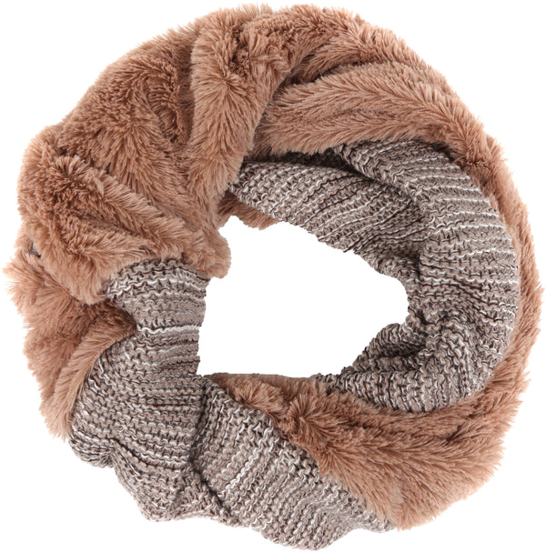 Sakkas Sele Short Two Textured Faux Fur Ribbed Knit Mixed Designed Infinity Scarf#color_Beige