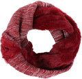 Sakkas Sele Short Two Textured Faux Fur Ribbed Knit Mixed Designed Infinity Scarf#color_Burgundy