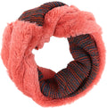 Sakkas Sele Short Two Textured Faux Fur Ribbed Knit Mixed Designed Infinity Scarf#color_Coral