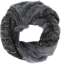 Sakkas Sele Short Two Textured Faux Fur Ribbed Knit Mixed Designed Infinity Scarf#color_Grey