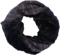 Sakkas Sele Short Two Textured Faux Fur Ribbed Knit Mixed Designed Infinity Scarf#color_Navy