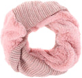 Sakkas Sele Short Two Textured Faux Fur Ribbed Knit Mixed Designed Infinity Scarf#color_Pink