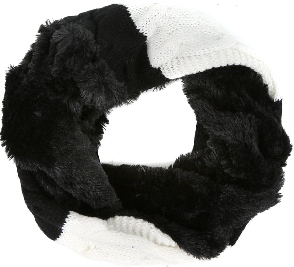Sakkas Maye short Two Sided Faux Fur Multi Colored Bolcked Wrap Infinity Scarf#color_Black / White