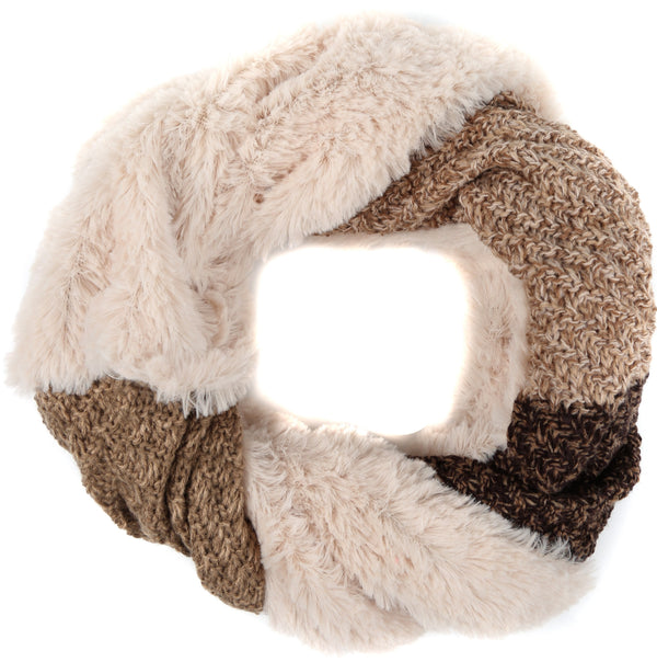 Sakkas Julie Short Wrap Around Two Sided Faux Fur And Ribbed Knit Infinity Scarf#color_Black / Brown