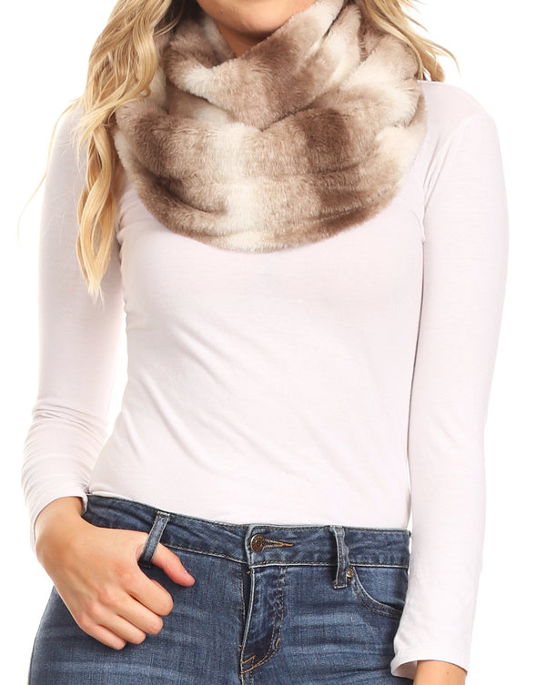 Sakkas Rhie Long Lightweight Faux Fur Ombre Colored Warm Soft Infinity Scarf#color_Black