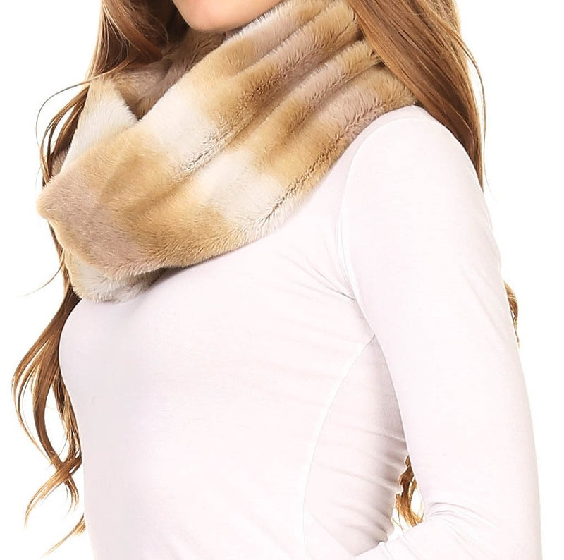 Sakkas Rhie Long Lightweight Faux Fur Ombre Colored Warm Soft Infinity Scarf