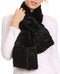 Sakkas Nadia Long Thin Soft Warm Comfort Faux Fur Scarf With Flare Ruffle Ends #color_Black