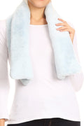 Sakkas Malen Long Rectangle Faux Fur Warm Soft Furry Wrap Around Loophole Scarf#color_Baby Blue