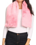 Sakkas Malen Long Rectangle Faux Fur Warm Soft Furry Wrap Around Loophole Scarf#color_Baby Pink