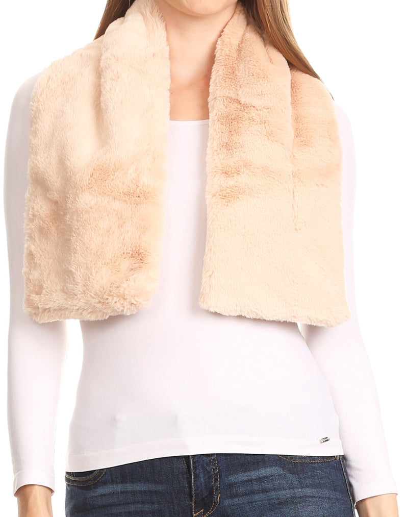 Sakkas Malen Long Rectangle Faux Fur Warm Soft Furry Wrap Around Loophole Scarf