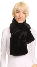 Sakkas Malen Long Rectangle Faux Fur Warm Soft Furry Wrap Around Loophole Scarf#color_Black