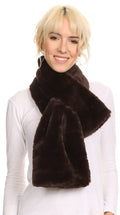 Sakkas Malen Long Rectangle Faux Fur Warm Soft Furry Wrap Around Loophole Scarf#color_Brown