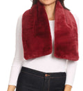 Sakkas Malen Long Rectangle Faux Fur Warm Soft Furry Wrap Around Loophole Scarf#color_Burgundy