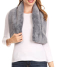 Sakkas Malen Long Rectangle Faux Fur Warm Soft Furry Wrap Around Loophole Scarf#color_Charcoal