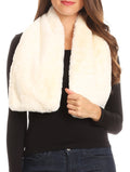 Sakkas Malen Long Rectangle Faux Fur Warm Soft Furry Wrap Around Loophole Scarf#color_Cream