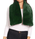Sakkas Malen Long Rectangle Faux Fur Warm Soft Furry Wrap Around Loophole Scarf#color_Green