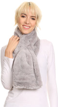 Sakkas Malen Long Rectangle Faux Fur Warm Soft Furry Wrap Around Loophole Scarf#color_Grey